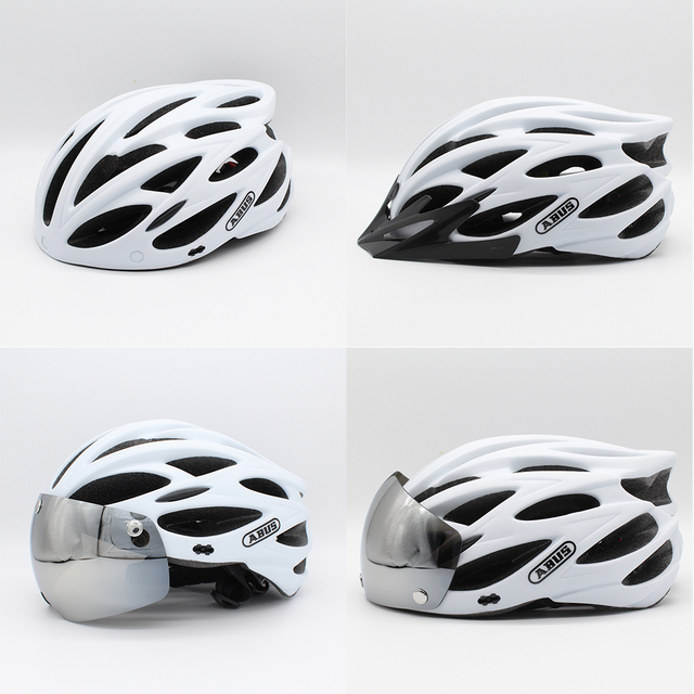 Abus capacete de bicicleta dos homens eps integralmente moldado respirável ciclismo capacete lente aero mtb estrada capacete 6