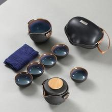 Высококачественный китайский чайный набор для путешествий, чайный набор кунг-фу, чайный набор, керамический портативный чайный горшок, фар...