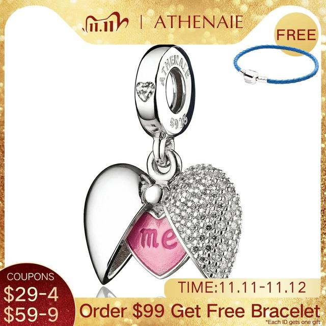 ATHENAIE רומנטי 925 כסף נקה CZ אתה ואני אוהבים לב תליון להתנדנד קסם fit צמיד ושרשרות DIY תכשיטים