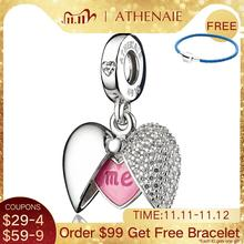 ATHENAIE romantik 925 ayar gümüş temizle CZ sen ve ben aşk kalp madalyon Dangle Charm fit bilezik ve kolye DIY takı