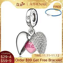 ATHENAIE romantyczny 925 srebro wyczyść CZ ty i ja miłość serce medalion srebrny wisiorek fit bransoletka i naszyjniki DIY biżuteria