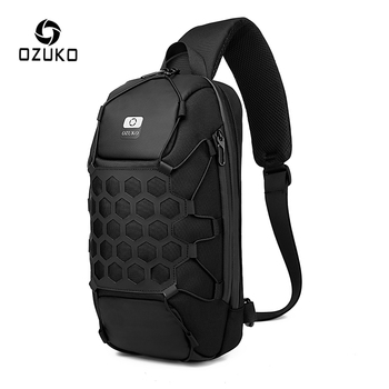 OZUKO Multifunction Men Chest Bag Fashion Male Outdoor Crossbody Bags Anti Theft Mens Sling Bag Waterproof Messenger Chest Pack