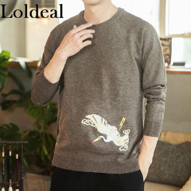 Loldeal Chinese Style Long-sleeved Sweater Men Flying Crane Embroidery Round Neck Slim Soft Pullover