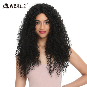 "Noble Hair 26""Inch Synthetic Lace Front Black Wig African American Long Kinky Curly Heat Resistant Fiber Wigs For Black Women(China)"