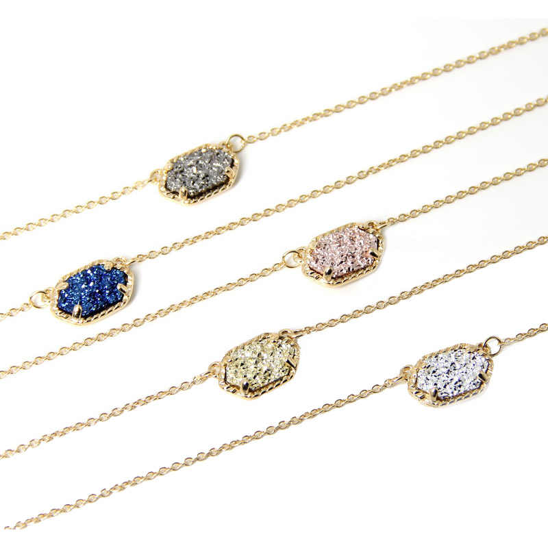 2016 new claw Choker Necklace for Women fashion Cute Quartze Oval Pendant Druzy Necklace Jewelry