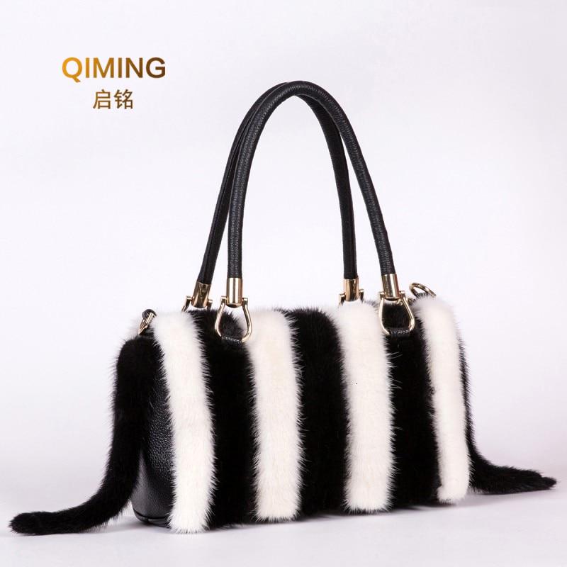 Real Mink Fur Bag Shoulder Bag Luxury Women Purses and Handbags High Quality Fur Crossbody Bags For Women Handbag