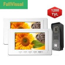 цена на Fullvisual Video Door Phone 2 Monitors Wired 7 Inch Home Intercom Door Access Control Kit Unlock Black/White Doorbell 1200TVL