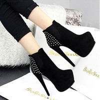 Autumn and winter new fashion ultra high with 14cm female boots rivet stiletto shoes waterproof platform trend sexy Martin boots