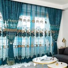 Europeu de veludo bordado chenille moderno tule janela cortina valance decorar cortinas para sala estar quarto