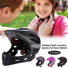 Chin With Rear Light Riding Detachable Bicycle Helmet Unisex Children Outdoor Safe Full Face Cycling Protective Balance Bike(China)
