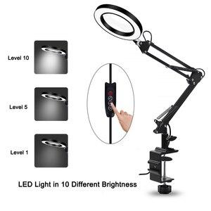 Image 3 - NEWACALOX Flessibile Da Tavolo Grande 5X USB LED Lente di Ingrandimento 3 Colori Illuminato Lampada Lente di Ingrandimento Loupe di Lettura/Rilavorazione di Saldatura/Saldatura