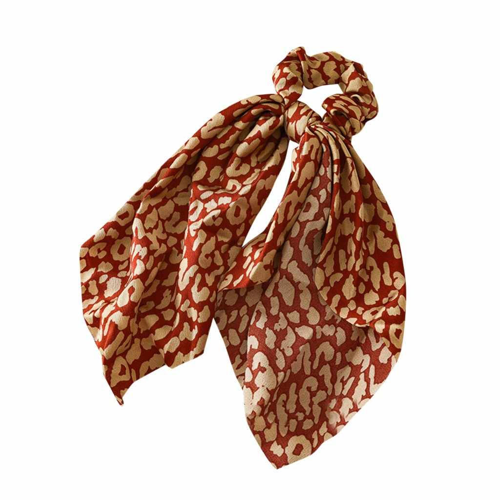 Bandas Elásticas del pelo de la impresión del leopardo de moda accesorios para el cabello lazo mujeres y niñas anillo de pelo tocado de la diadema larga