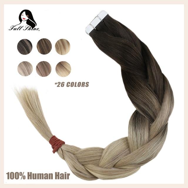 شريط لامع كامل في شعر مستعار بشري Balayage شقراء اللون Omber 100% شعر الإنسان الجلد لحمة الغراء على ملحقات آلة ريمي