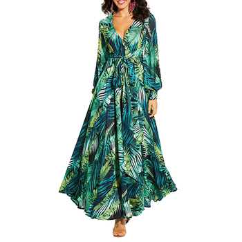 AECU Vestido Floral Print Boho Maxi Dress Sexy Lady Bohemian Summer Long Dress Women Beach Dresses Female Robes Christmas