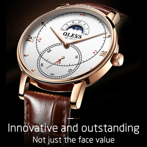 Image 3 - Montre à Quartz pour hommes, montre à Quartz étanche, montre de marque de luxe, sur pied, avec fonction Phase de lune, cadeaux pour hommes