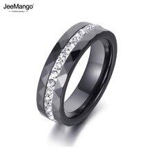 JeeMango – bagues en céramique blanche et noire pour femmes, bijoux classiques, strass d'argile, bagues de fiançailles de mariage, Halka JR18145