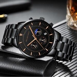 Image 4 - GOLDENHOUR luksusowa marka zegarki męskie pełny stalowy zegarek biznesowy wodoodporny zegarek kwarcowy męski męski zegar Relogio Masculino