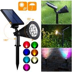 7 LED lampa na energię słoneczną na trawnik na zewnątrz wodoodporny regulowany pejzaż z ogrodem lampa Spotlight z wkładką naścienną naścienną nowość w Lampy LED na trawnik od Lampy i oświetlenie na