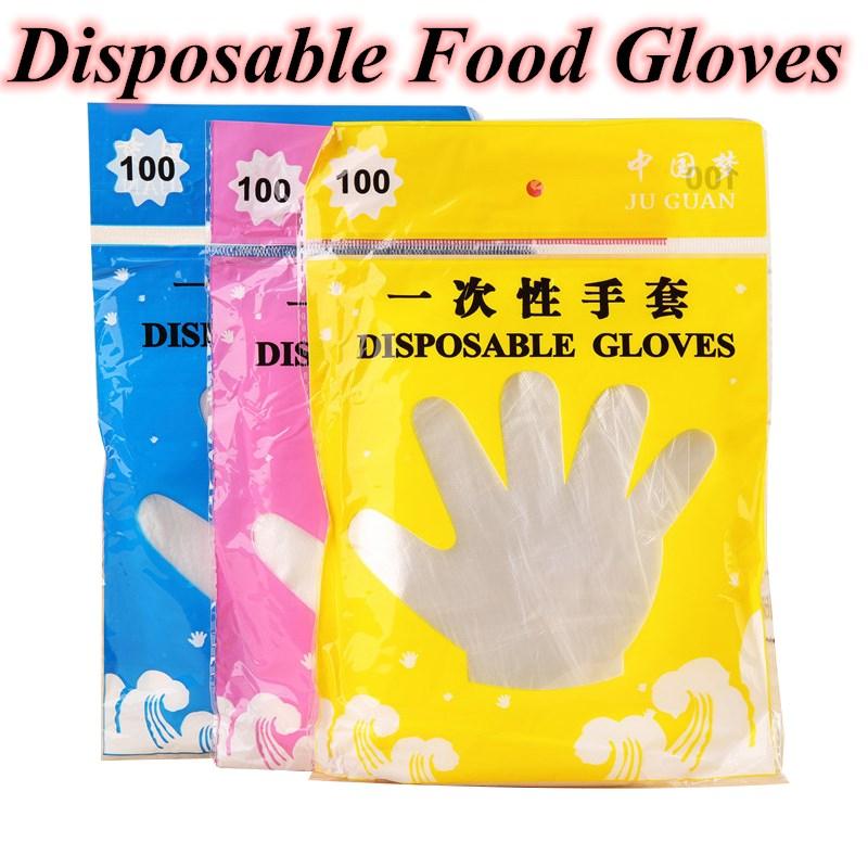 100 шт./лот одноразовые перчатки одноразовые пластиковые перчатки Ресторан барбекю прозрачные экологически чистые перчатки HDPE кухонные аксессуары Бытовые перчатки      АлиЭкспресс