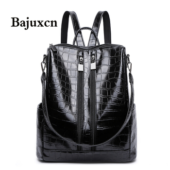 Famous brand luxury backpack 2021 new ladies high quality crocodile pattern black bag leather youth woman