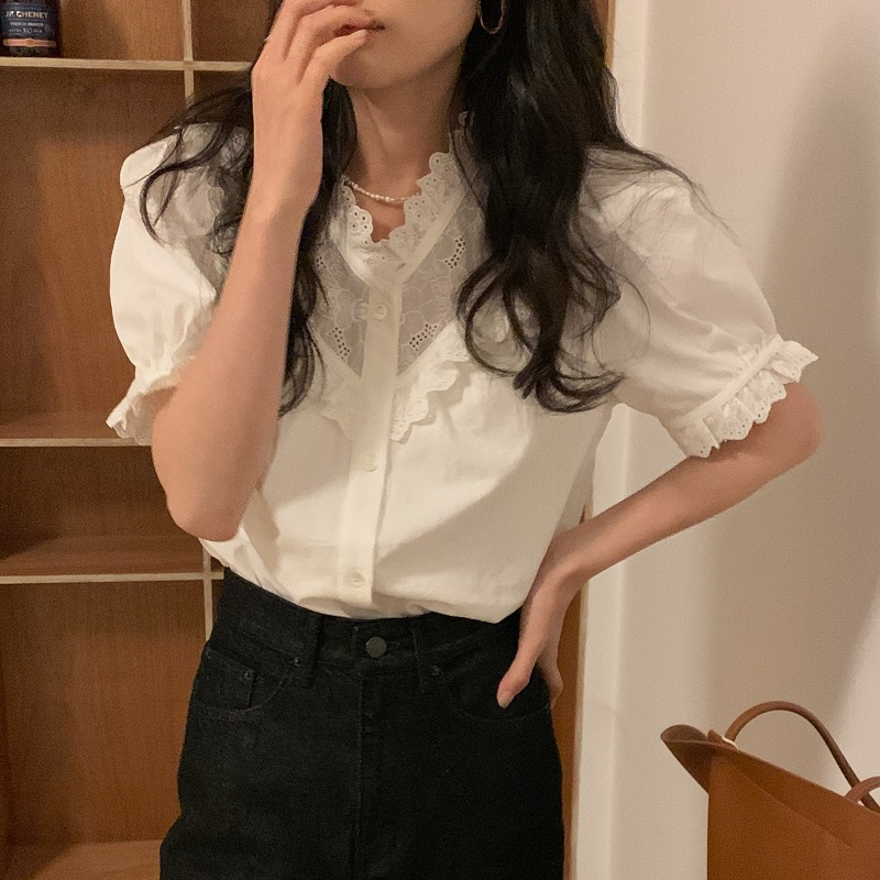 H083e46a7d9744f78874b893eee517050X - Summer V-Neck Short Sleeves Lace Patchwork Solid Blouse