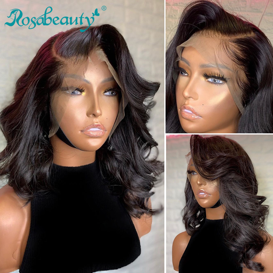 Rosabeauty 13x4 Lace Front Human Hair Wig Pre Plucked Bouncy Curly Brazilian Human Hair Frontal Wig Loose