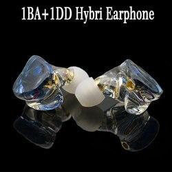 Słuchawki MMCX hi res hybrydowe słuchawki HIFI 1BA + 1DD zestaw słuchawkowy potężny zestaw słuchawkowy stereo wykonane na zamówienie słuchawki DJ w Słuchawki douszne i nauszne od Elektronika użytkowa na