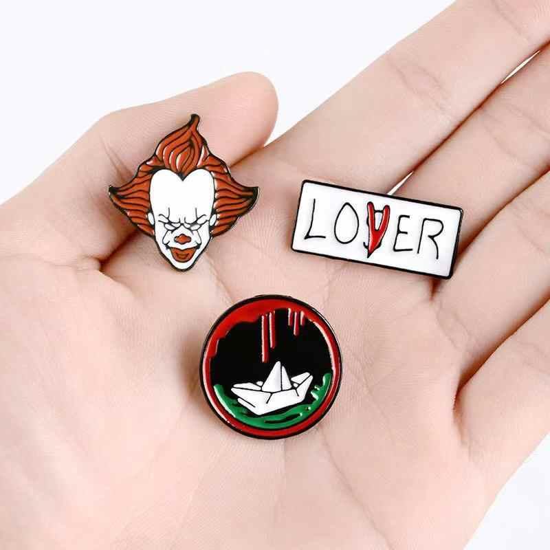 De Joker Emaille Pin LOVER VERLIEZER Boot Broche Vrouwen Shirt Revers Ronde Badge pin Horror Movie Broches Sieraden Gift voor vrienden