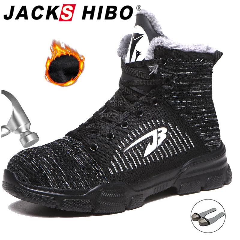JACKSHIBO Winter Men Safety Work Boots Shoes Anti-smashing Steel Toe Cap Work Boots Indestructible Working Shoes Pluse Size 48