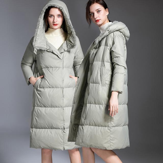 Europe winter oversize fluffy 95% duck   down     coat   female Nylon taffeta Mink fur thicker warm hooded duck   down   jacket F137