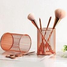 Rose Gold Metal Iron Storage Basket Pen Holder Desktop Makeup Brush Eyebrow Stationery Organizer