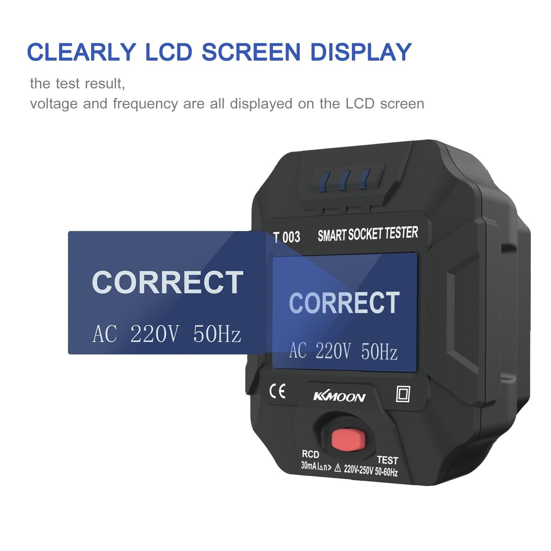 KKMOON Reino Unido nos enchufe de la UE hembra probador de toma corriente inteligente Socket Tester Digital toma LCD comprobador de circuito polaridad Detector