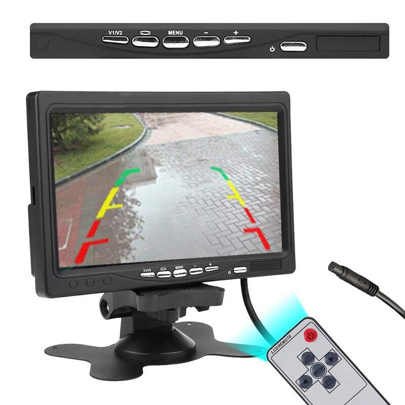Monitor de 7 pulgadas para coche TFT LCD Color HD pantalla para coche CCTV vista trasera de marcha atrás cámara de respaldo Monitor para reposacabezas de coche
