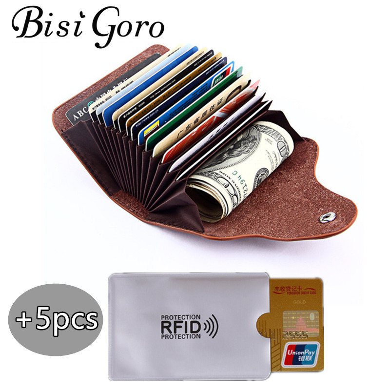 BISI GORO 2019 Men And Women Genuine Leather Unisex Business Card Holder Wallet Bank Credit Card Case ID Holders Women Purse