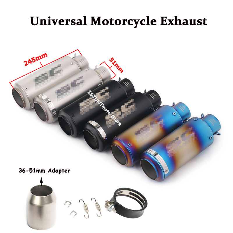 51mm Universal Motocycle Exhaust Muffler Pipe Scooter escape moto Silencer System Silp on for Kawasaki BMW