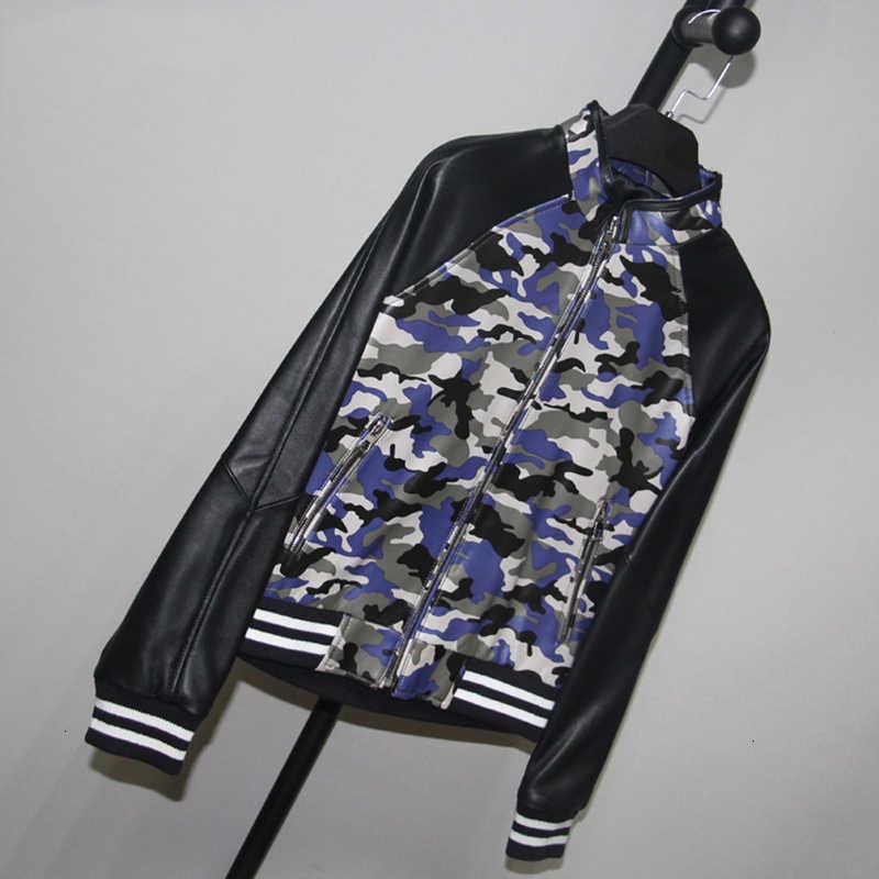 Mode Frauen Camouflage Druck Echtem Leder Aviator Bomber Jacke Schlank Schaffell Echt Leder Jacke Mäntel Damen Streetwear