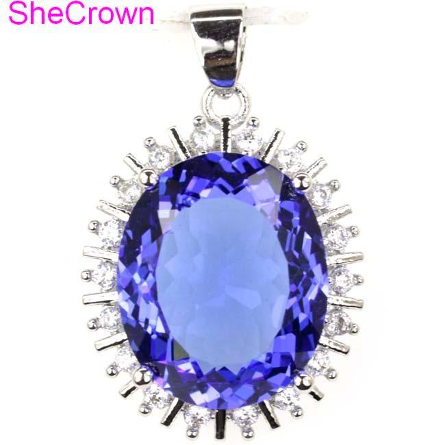 28x20mm Big Oval 18x15mm Rich Blue Violet Tanzanite White Cubic Zirconia Ladies 925 Silver Pendant