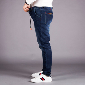 Image 2 - Winter Pants Men Island Fleece Velet Warm Jeans Boy Denim Jeans Size 5XL 6XL Blue Jean Man Elastic High Waist Slim Fit Trousers