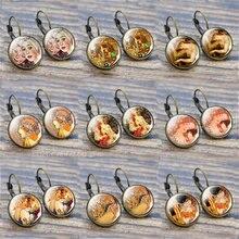 Серьги гвоздики в стиле ретро с изображением французской живописи