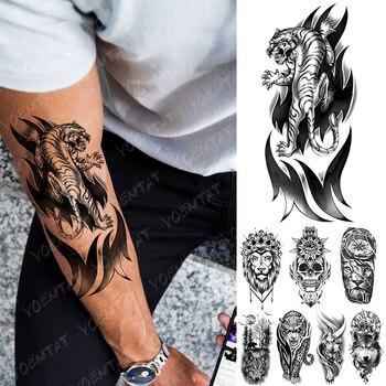 Tatuaje temporal a prueba de agua pegatina Tigre llama tótem Flash tatuajes León Lobo cráneo arte corporal brazo falso manga tatuajes mujeres hombres