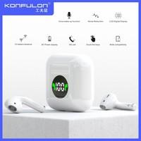 デジタルディスプレイ,スポーツイヤホン,iPhone,Samsung,Vivo用の黒と白の防水ステレオイヤホン,5.0,tws