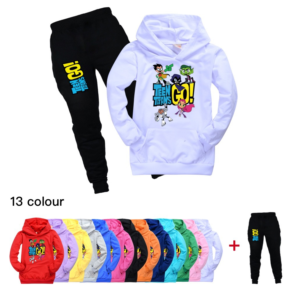 Girl Halloween Outfit <font><b>Baby</b></font> Boy Clothing Cotton Teen Titans Go Pocket Hooded T Shirt + Pans Suit <font><b>Baby</b></font> Kids Tops teenages <font><b>tshirt</b></font> image