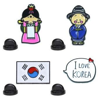Cartoon pins hanbok character Korean flag brooch travel souvenir