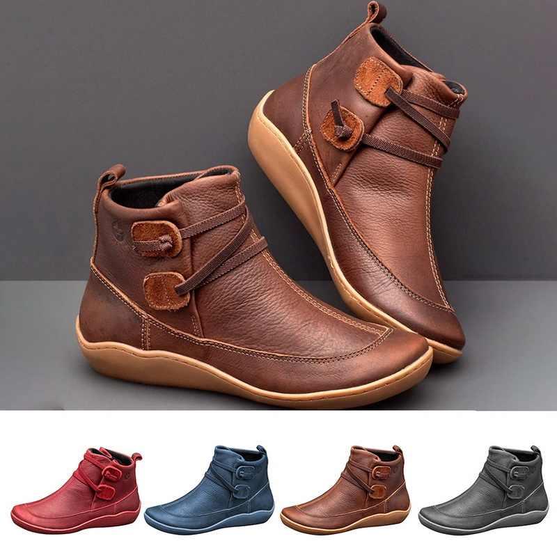 Vertvie Casual Stiefel 2019 Herbst Winter Retro Frauen Stiefel Mode PU Leder Stiefeletten Zapatos De Mujer Wram Botas