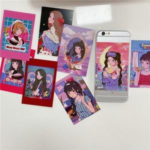 9 листов, японская комиксная открытка в стиле Харадзюку для девочек, ретро-иллюстрация, открытка, наклейка, реквизит для фотографий, канцеля...