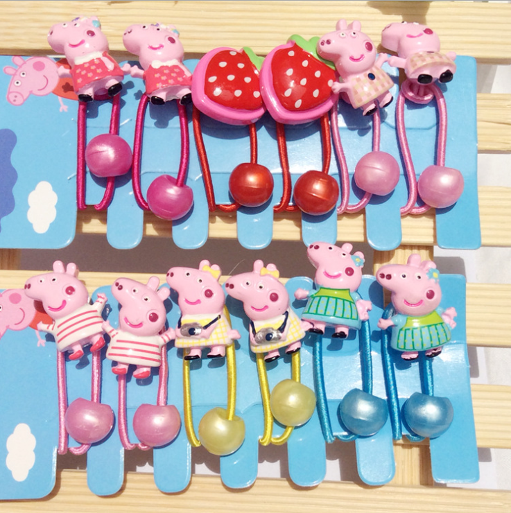 Original Peppa Pig Hairpin Rubber Band Hair Accessories Cartoon Resin Printing Kid Accessories A Set Girl Headdress For  Gift