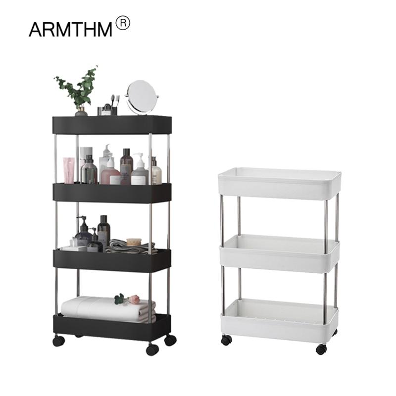 Kitchen Bathroom Trolley Floor Shelf Multi-Layer Removable Storage Rack Space Saving Mobile Storage Rack Organizer with Wheels 1