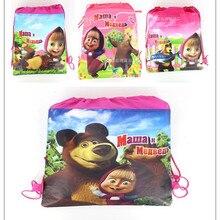 Нетканые тканевые дорожные сумки для плавания с изображением Маши и медведя, 1 шт., 27*36 размеров, подходят для различных случаев