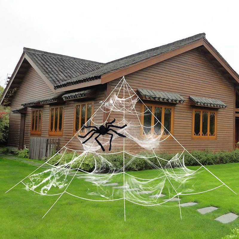 Outdoor Halloween Decorations Halloween Spider Decoration Triangular Mega Spider Web With Stretch Cobweb Set Party Yard Decor (W