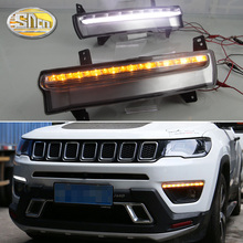 For Jeep Compass 2017 2018 2019 Daytime running light dynamic yellow turn Signal Light style Relay 12V LED car DRL fog lamp osmrk led drl daytime running light for jeep renegade with yellow turn signal wireless switch control